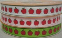 10mm  APPLE WITH LEAVES GROSGRAIN RIBBONS